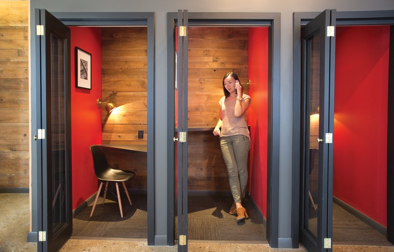 A typical phone booth in a Coworking space