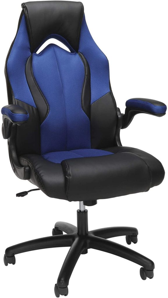 OFM ESS Collection High-Back Racing Style Bonded Leather Gaming Chair Blue