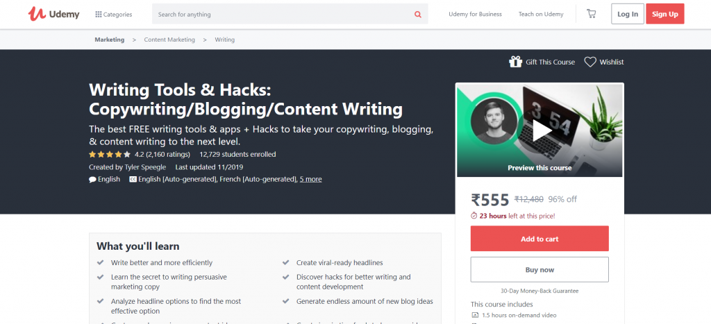 Writing Tools & Hacks Course
