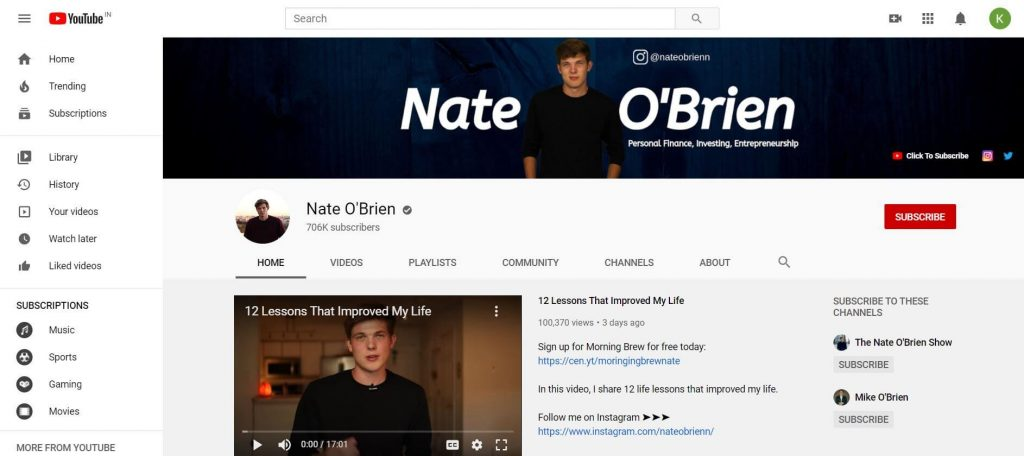 Nate O'Brien YouTube channel