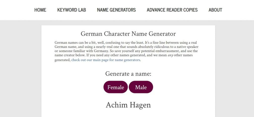 Publishing With Love: German Character Name Generator