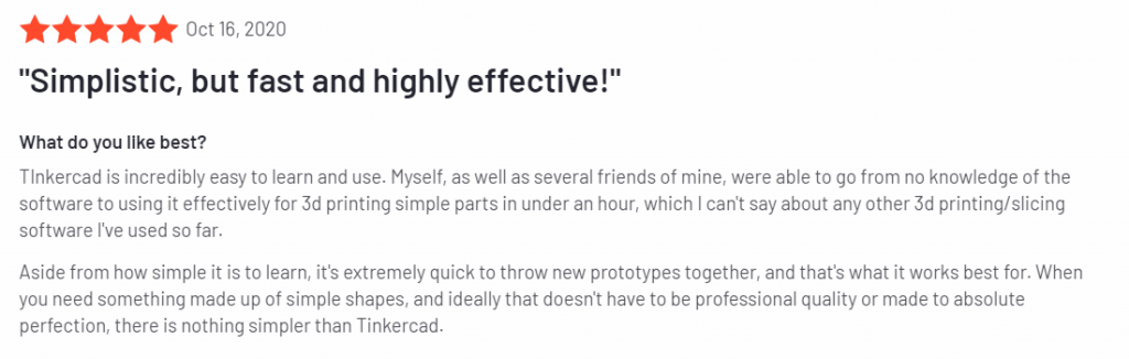 TINKERCAD POSITIVE REVIEW