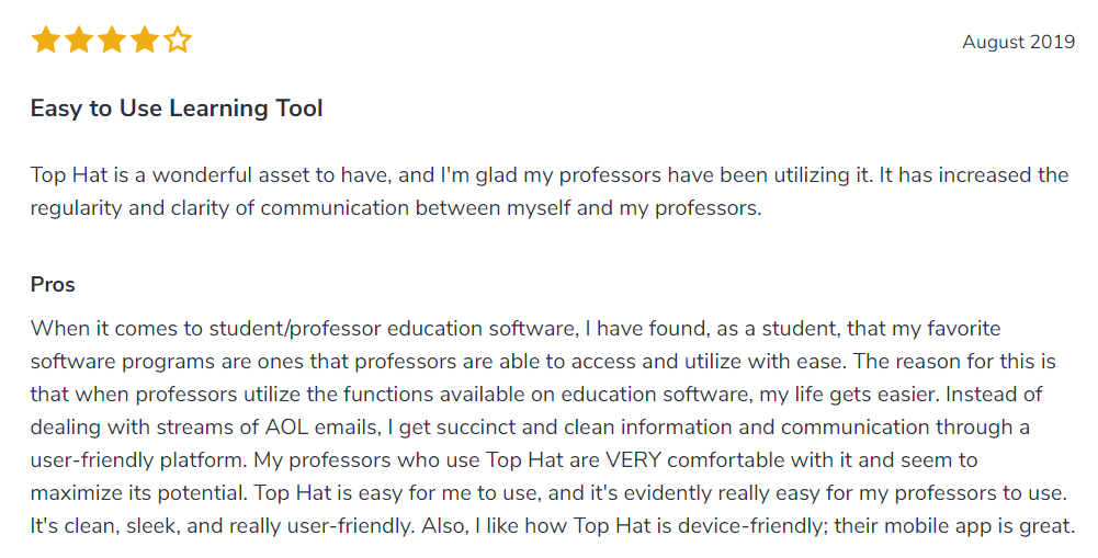 TopHat Positive Review