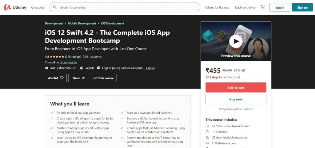 iOS 12 Swift 4.2 - The Complete iOS App Development Bootcamp Course