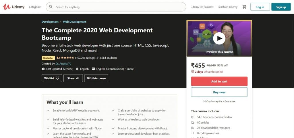 The Complete 2020 Web Development Bootcamp Course