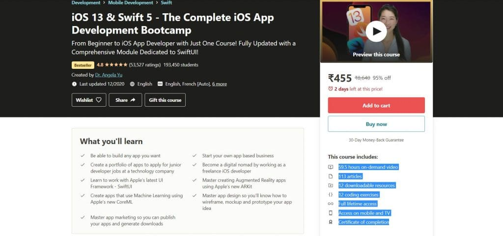 iOS 13 & Swift 5 - The Complete iOS App Development Bootcamp Course