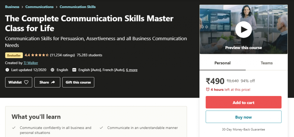 The Complete Communication Skills Master Class for Life Course