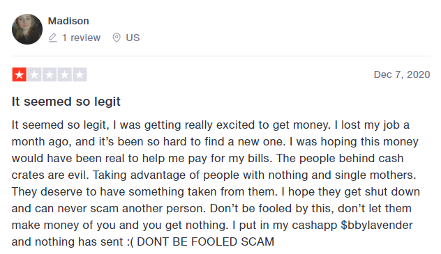 Cashcrate negative review
