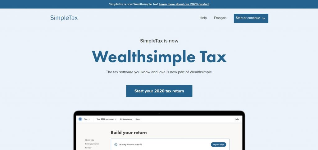 WealthSimple Tax (SimpleTax) Home Page