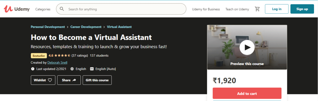How to Become a Virtual Assistant (Udemy)