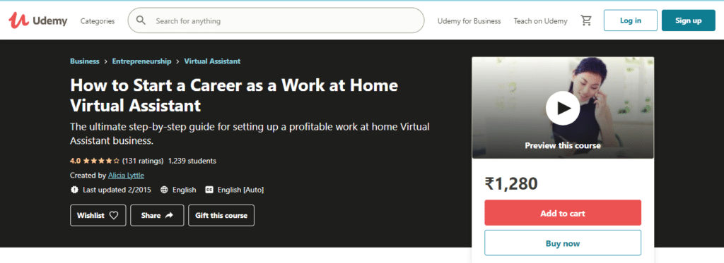 How to Start a Career as a Work at Home Virtual (Udemy)