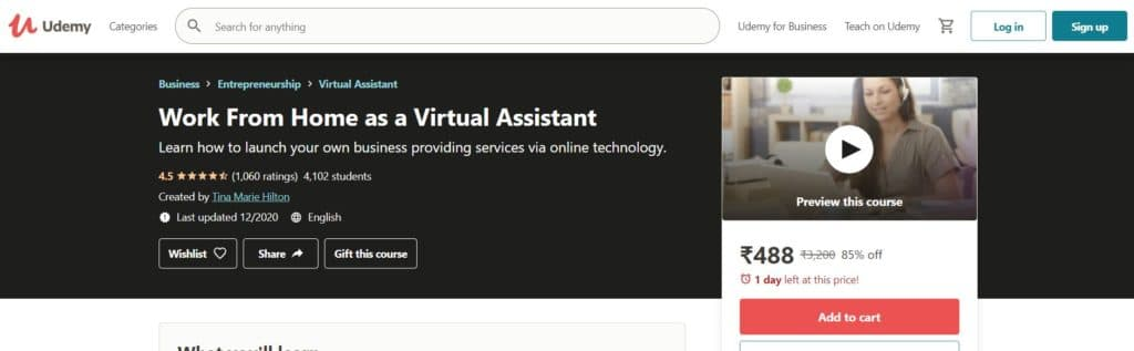 Work From Home as a Virtual Assistant (Udemy)