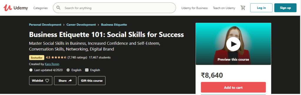 Business Etiquette 101: Social Skills for Success (Udemy)