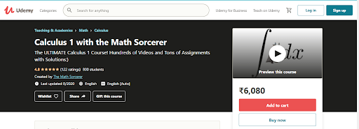 Calculus 1 with the Math Sorcerer (Udemy)
