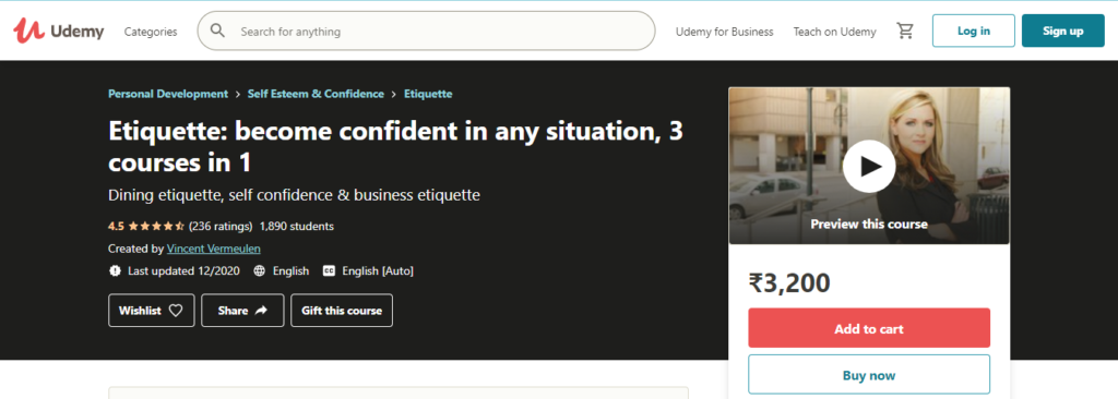 Etiquette: become confident in any situation, 3 courses in 1 Course