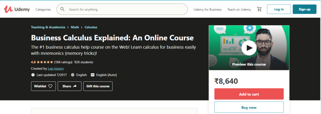 Business Calculus Explained: An Online Course (Udemy)