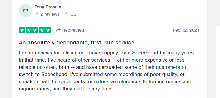 Speechpad Positive Review