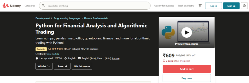 Python for Financial Analysis and Algorithmic Trading Course