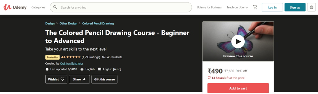 The Colored Pencil Drawing Course- Beginner to Advanced Course