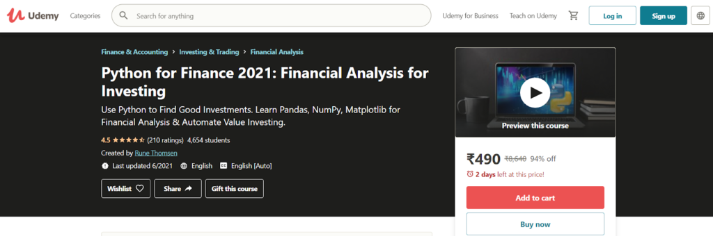 Python for Finance 2021: Financial Analysis for Investing Course
