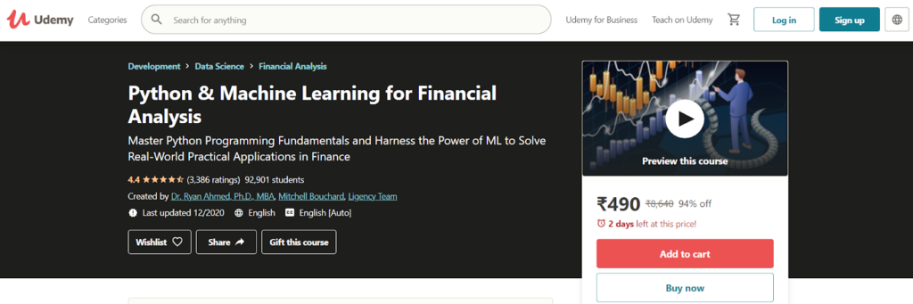 Python & Machine Learning for Financial Analysis Course