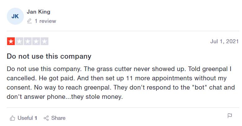 GreenPal Negative Review