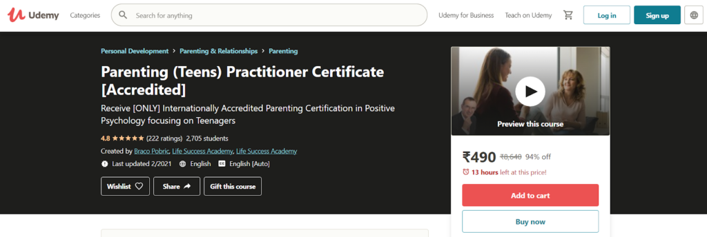 Parenting (Teens) Practitioner Certificate [Accredited] Course